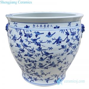 RYLU176-I Ancient blue and white ceramic decorated with birds pattern pot