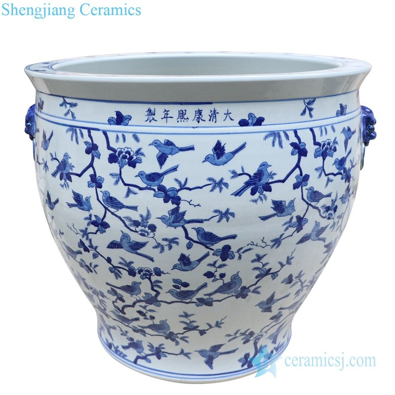 classical blue and white porcelain jar with two handles