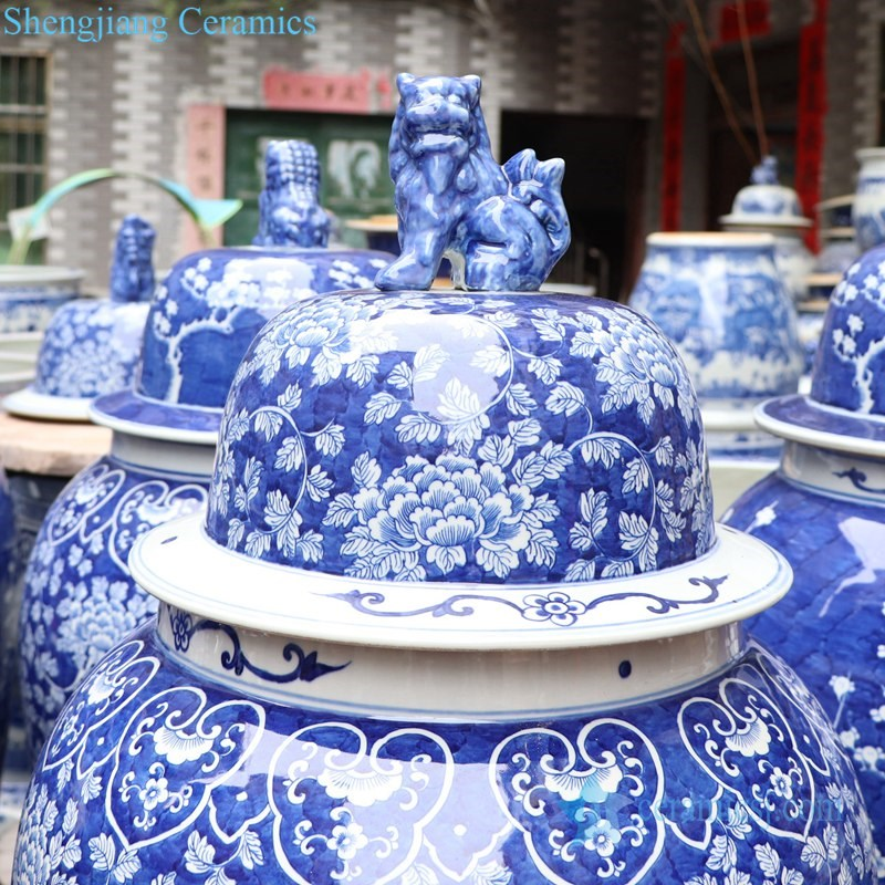 traditional blue and white covered ceramic jar