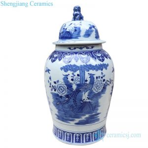 RYLU177-C Shengjiang blue and white ceramic with phoenix and peony design potiche jar