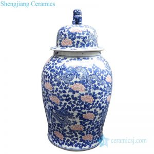 RYLU177-D Antique underglaze red ceramic potiche jar