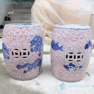 RYLU178-A-B Jingdezhen unique high quality underglaze red ceramic stool