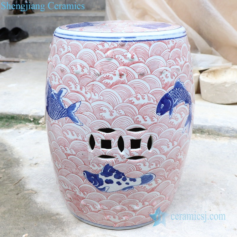 ancient hand painted ceramic stool