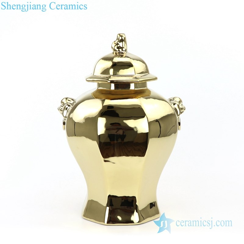 unique giled ceramic storage jar