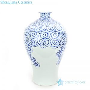 RYNQ252 Blue and white ceramic with copper coin cloud pattern vase