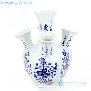 RYNQ253 Jingdezhen traditional blue and white ceramic with five mouths vase