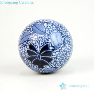 RYPU23-G Household blue and white globular ceramic fish bowl ornament