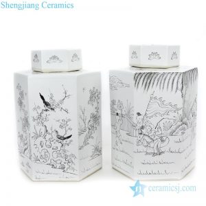 RYSM03-A-B Simple style hand drawing pattern ceramic with six sides tea jar