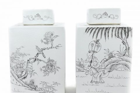 RYSM04-B-A Shengjiang hand drawing four sides porcelain tea jar