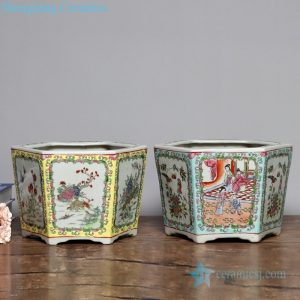 RYSZ10-11 Chinese traditional famille rose ceramic with flower and bird design hexagonal flower pot