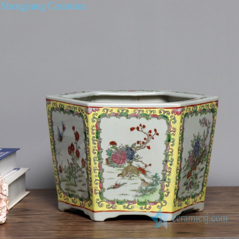 antique polychrome ceramic flower pot
