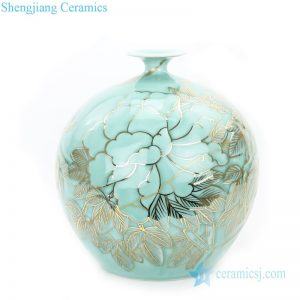 RYTA11 Hand painted gold drawing misty blue ceramic pomegranate vase