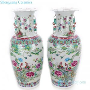 RYWQ12 Pair of polychrome famille rose ceramic with bird and flower design vase