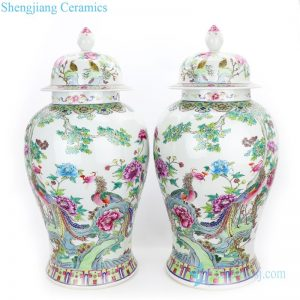 RYWQ13 The Qing dynasty famille rose ceramic with phoenix design jar