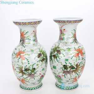 RYWQ15 Ancient famille rose ceramic with beautiful fish and algae design vase