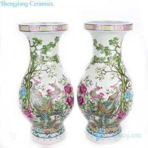 RYWQ16 Chinese style narrow necked ceramic with phoenix and tree design vase