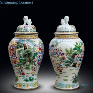 RYWY12 Jingdezhen antique famille rose ceramic with design of child and landscape floor jar