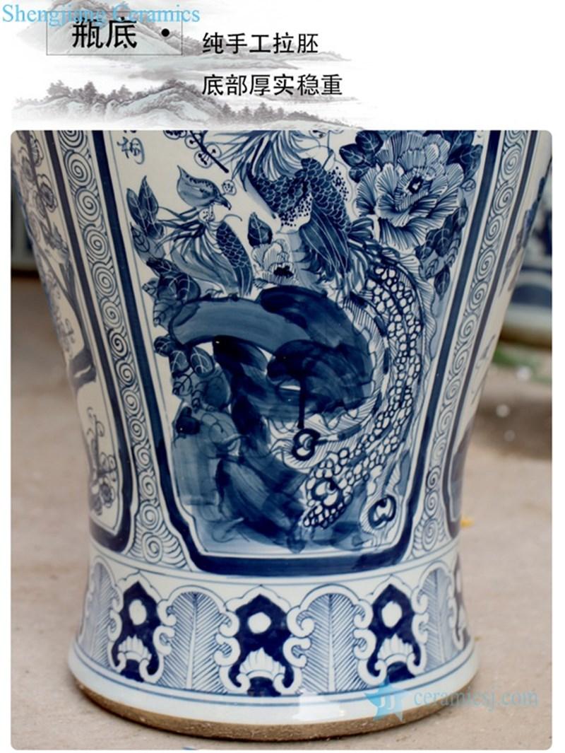 classical blue and white twin ceramic jar
