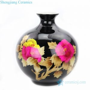 RYXF21 Chinese style unique ceramic with red peony vase