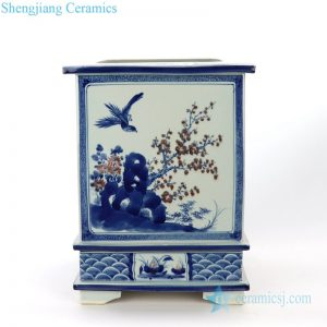 RZAJ17 Shengjiang ancient wholesale ceramic with flower and bird design square pot