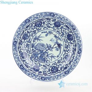RZBD05 Blue and white ceramic with flower and bird design decorative plate