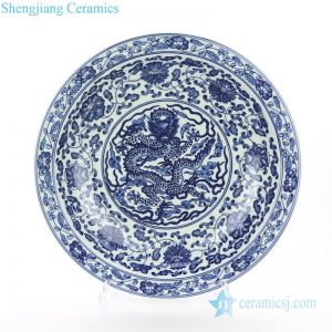 RZBD06 Valuable ceramic with floral and dragon pattern display plate