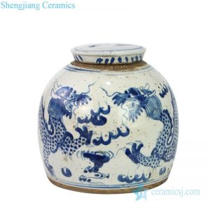 RZEY16-S-C Antique ceramic with dragon design covered tea jar