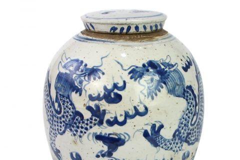 RZEY16-S-C Antique ceramic with dragon design covered tea jar