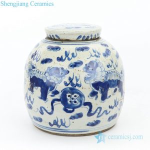 RZEY16-S-D Shengjiang high quality ceramic with lion design tea jar