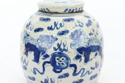 RZEY16-S-D Shengjiang high quality ceramic with lion design tea jar
