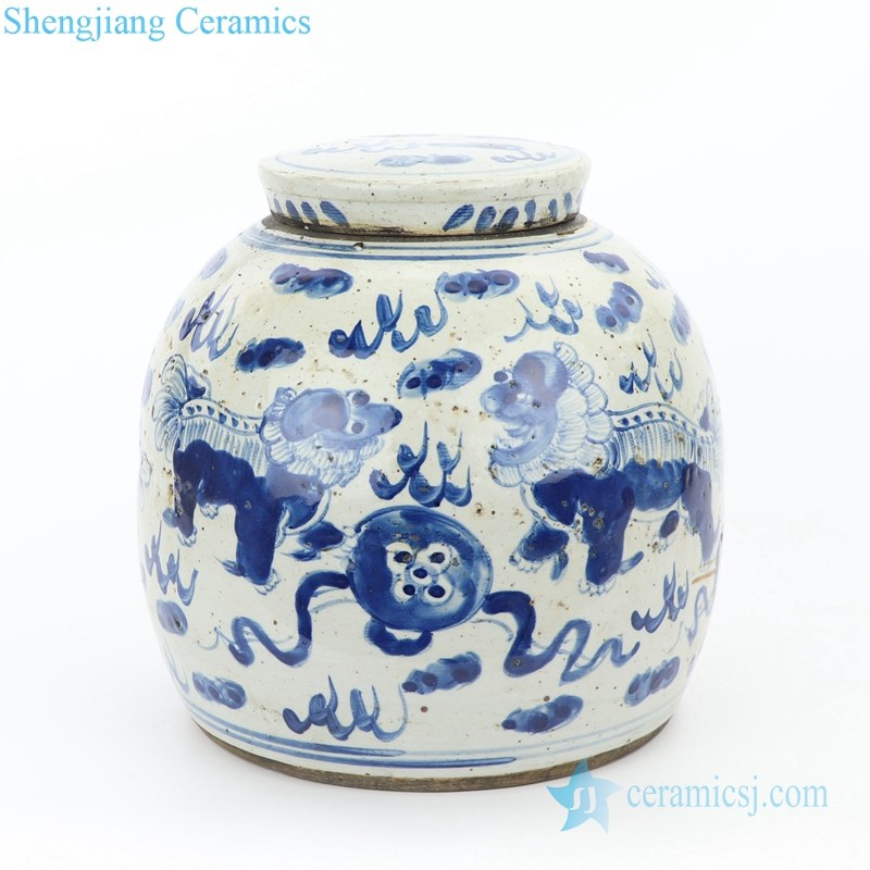 small blue and white covered tea pot