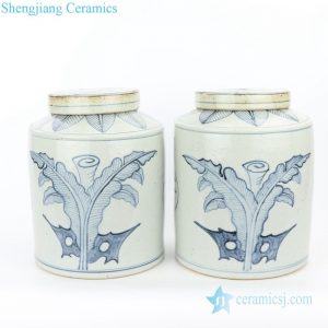 RZFB05 Chinese traditional style ceramic with leaves design tea jar