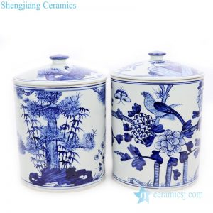 RZFI10-A-B Jingdezhen traditional hand painted blue and white ceramic with lid tea jar