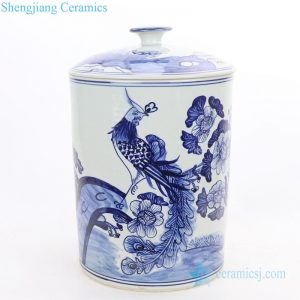 RZFI11 Conventional pure hand drawing ceramic with phoenix and flower design tea jar