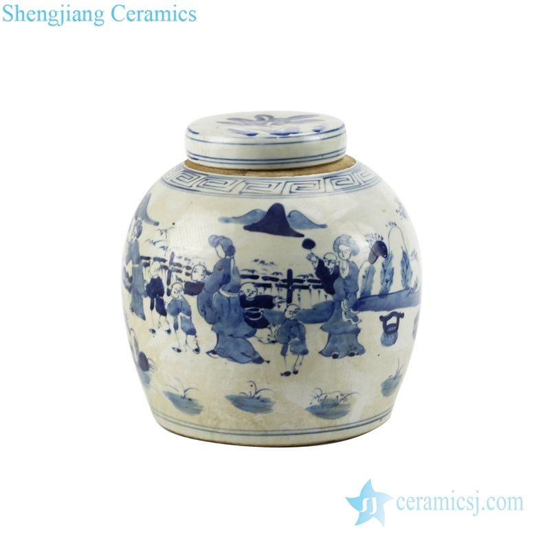 traditional blue and white ceramic tea jar with lid