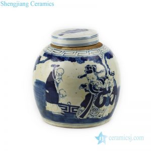 RZFZ01-k Chinese antique valuable portraiture design ceramic tea jar