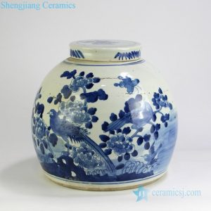 RZFZ05-M Chinese style valuable ceramic with flower and bird design tea jar
