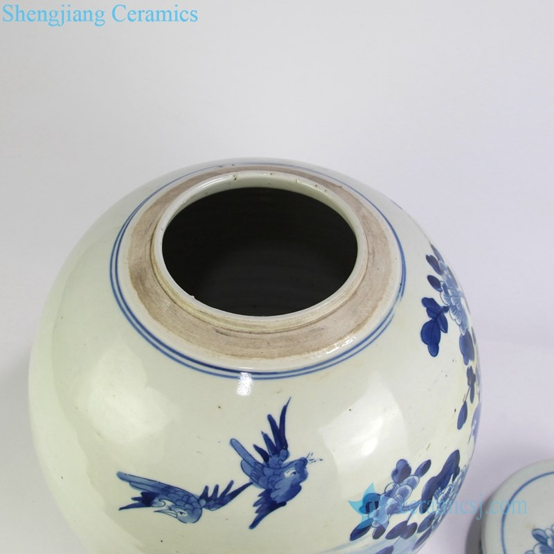fat blue and white ceramic tea jar