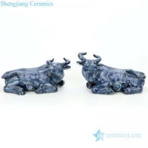 RZGA03 Pair of celadon glaze ceramic with buffalo shape figurine