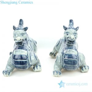 RZGA05 Blue and white ceramic with green dragon shape twin figurine