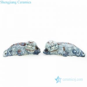 RZGA06 Treasured blue and white twin ceramic with Pixiu shape decorative figurine