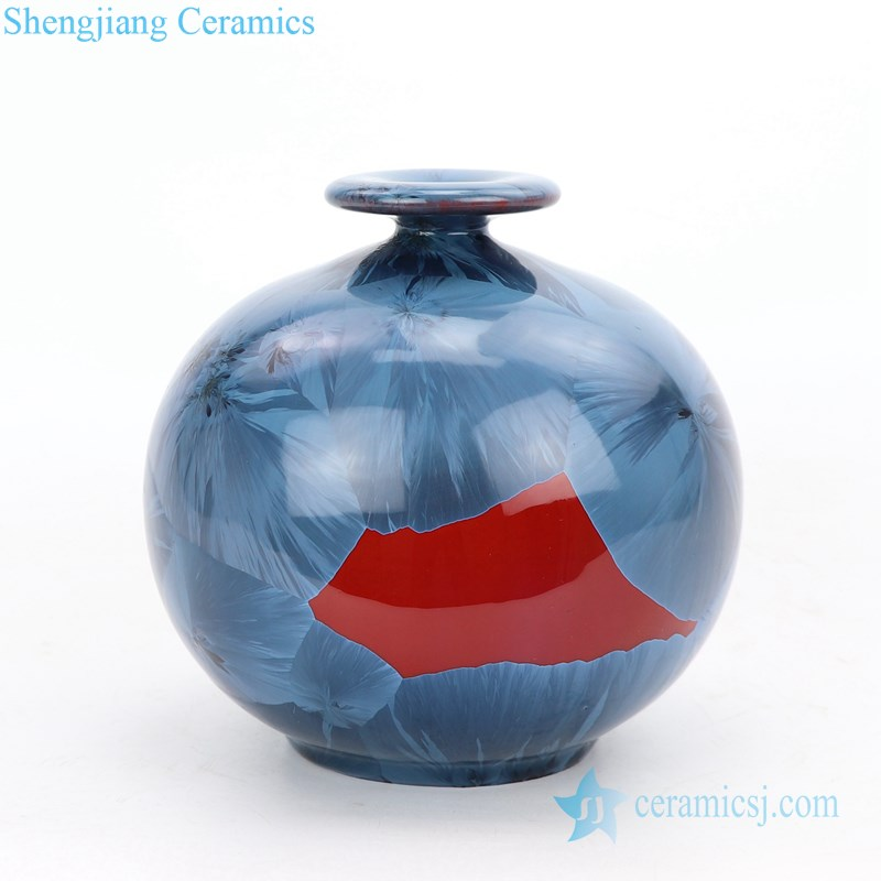 slippy blue ceramic vase