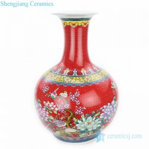 RZHB02 Famille rose ceramic with flower and bird design decorative floor vase