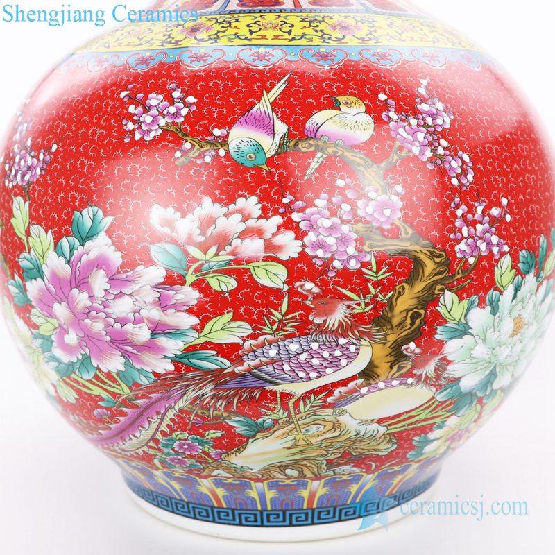 multicolor narrow neck ceramic vase