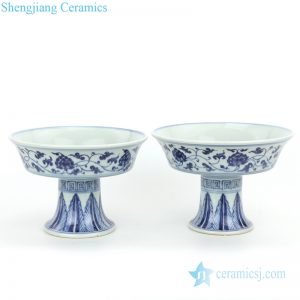 RZHL27-A-B Beautiful ceramic with design of interlocking branches tall foundation plate