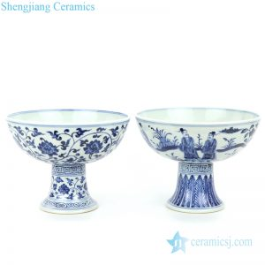RZHL29-A-B Antique blue and white ceramic with design of interlocking branches and portraiture bowl