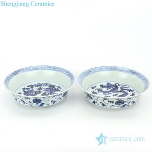 RZHL32-A-B Hand drawing blue and white ceramic with various pattern plate