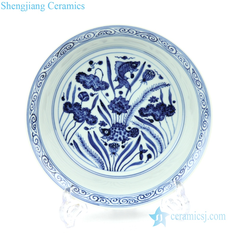 elegant blue and white ceramic plate