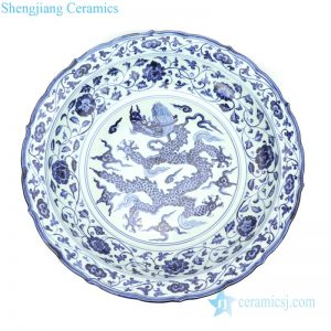 RZHL33 Elegant blue and white ceramic with peony and dragon design plate