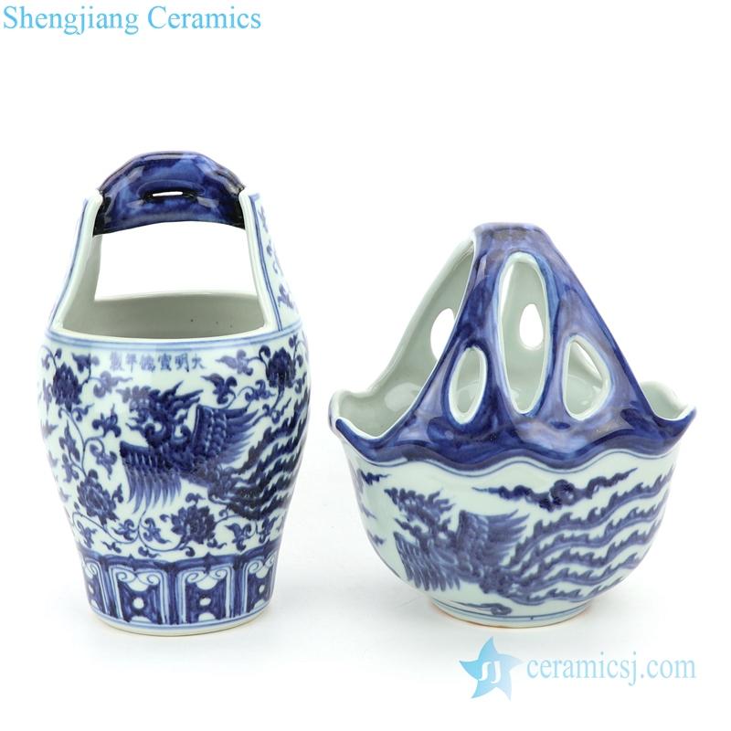 blue and white ceramic with unique shape vase